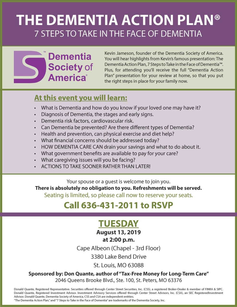 Cape Albeon hosts Dementia Action Plan
